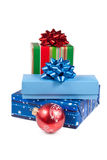 Brigth Christmas gifts isolated on white Stock Photography