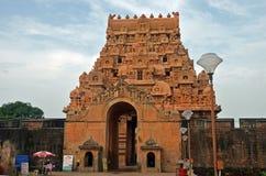 Brihadeeswara tempelingång, Thanjavur arkivbilder
