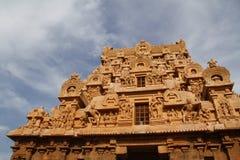 Brihadeeswarar Big Temple. Brihadeeswarar Temple also called Big Temple and Peruvudaiyaar Kovil in Thanjavur, Tamil Nadu India on a clear day with clouds and a stock photography