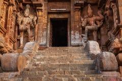 Brihadishwara寺庙入口。Tanjore (坦贾武尔) 库存图片