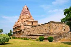 Brihadisvara-Tempel, Gangaikondacholapuram, Tamil Nadu, Indien Südostansicht Lizenzfreie Stockbilder