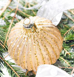 Briight Christmas card with Decorations on Fir Tree background c Royalty Free Stock Image