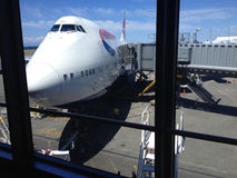 Briish jumbo jet at seattle airport Stock Image