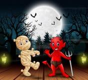 Brij en rode duivel in openlucht in de nacht stock illustratie