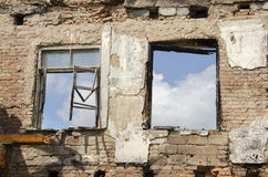 Briks wall and windows after fire Royalty Free Stock Photography