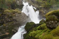 Briksdal Falls. In the Jostedalsbreen National Park, Sogn og Fjordane, Norway royalty free stock photography