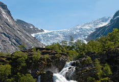 Briksdal glacier. View of glacier Briksdal in Norway Royalty Free Stock Photography