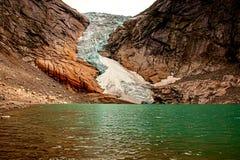 Briksdal glacier at the foot royalty free stock images