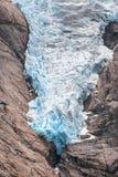 Briksdal Glacier Tongue. In 2017, Jostedalsbreen National Park, Sogn og Fjordane, Norway royalty free stock image