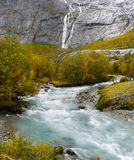 Briksdal Valley Waterfall River  Norway Stock Photo