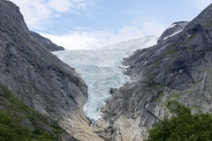 Briksdalsbreen glacier at summer in Jostedalsbreen National Park in Norway. Royalty Free Stock Images