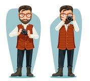 Bril van het de reisnieuws van de reisfotograaf van het de camera blogger beeldverhaal van het het karakterontwerp de vectorillus vector illustratie