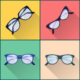 Bril vlakke pictogramreeks stock illustratie