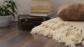 Brilhantemente parte à moda da sala de visitas com a mala de viagem velha do vintage, os livros, a planta em pasta e a cobertura  vídeos de arquivo