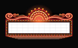 Brilhantemente sinal de néon de incandescência do cinema retro do teatro Fotos de Stock