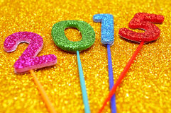 Brilhar numera a formação do número 2015, como o ano novo Imagens de Stock Royalty Free