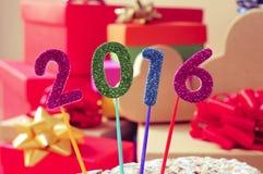 Brilhar numera a formação do número 2016, como o ano novo Foto de Stock Royalty Free