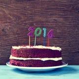 Brilhar numera a formação do número 2016, como o ano novo, em um Ca Fotografia de Stock Royalty Free