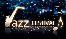Brilho 3D azul da estrela de Jazz Festival Saxophone Silver City Bokeh Fotos de Stock Royalty Free