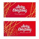 Brilho do ouro do Feliz Natal Imagens de Stock