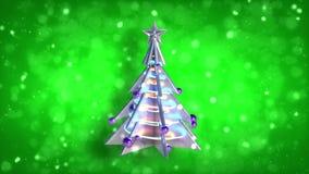 Brilho v2 do verde do laço da árvore do xmas da decoração do Natal video estoque