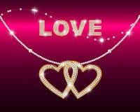 briljant chain hjärtaförälskelseord royaltyfri illustrationer