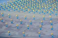 Briljant hopp: den sjunde nationella staden spelar öppningscermonirepetition Arkivbild