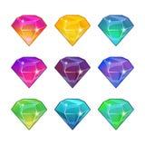 Briljanta diamanter i olika färger Vektortecknad filmuppsättning för modig design Royaltyfria Foton