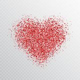 Brilla il cuore rosso isolato su fondo trasparente Insegna d'ardore del cuore con le particelle magiche della polvere di stella C illustrazione di stock