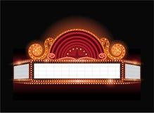 Brillamment enseigne au néon rougeoyant de cinéma de théâtre de vecteur rétro Image libre de droits