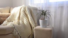 Brillamment intérieur élégant de salon Sofa confortable de invitation avec la couverture de laine faite main banque de vidéos