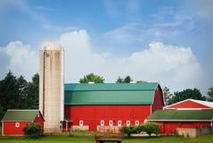 Brillamment un rouge a coloré la grange avec un toit vert un jour d'été Images libres de droits