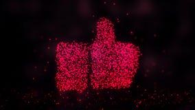Brillando intensamente abstracto como muestra, como el símbolo hecho de partículas rojas Fondo abstracto de la noche ilustración del vector