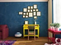 Brillante, acogedor, sitio siiting contemporáneo de la moda con el lugar de trabajo, sofá, butaca Imagenes de archivo