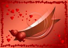 Brillante cinta con los corazones adentro enmarcados de corazones rojos Foto de archivo libre de regalías