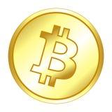 Brillante, circular, pendiente, moneda de oro del bitcoin Aislado en blanco ilustración del vector