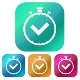 Brillante, cuadrado, icono blanco de la silueta del contador de tiempo de la pendiente Cuatro variaciones del color Aislado en bl ilustración del vector