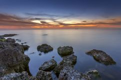 Brillante después del mar de la puesta del sol Fotos de archivo