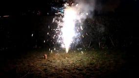 Brillante feliz de la celebración de la noche de los fuegos artificiales almacen de metraje de vídeo