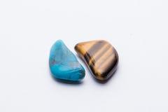 Brillante prezioso minerale della pietra preziosa del gioiello blu e marrone della gemma Fotografie Stock