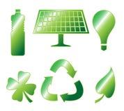 Brillante van los iconos verdes Imagen de archivo