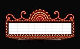 Brillantemente insegna al neon retro d'ardore del cinema del teatro illustrazione di stock