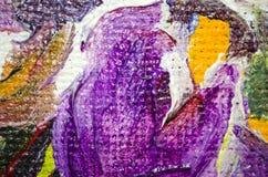 Brillantemente manchas amarillas y verdes violetas decorativas de la pintura de aceite en lona imagenes de archivo