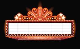 Brillantemente señal de neón retra anaranjada del cine del teatro que brilla intensamente Imagen de archivo libre de regalías