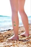 Brillare-tatuaggio del drago verde Fotografie Stock Libere da Diritti