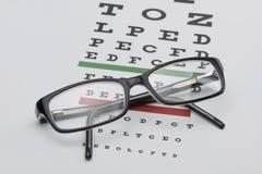 Brillen auf Sehtafel Stockfoto