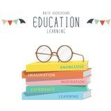 Brillen auf Spitzenstapelbüchern lizenzfreie abbildung