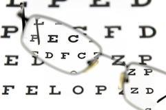 Brillen und Augenprüfungsdiagramm Stockfotografie