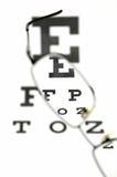 Brillen und Augenprüfungsdiagramm Stockbilder