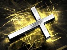 Briller croisé argenté de Jésus, avec des caustiques d'or Photos libres de droits